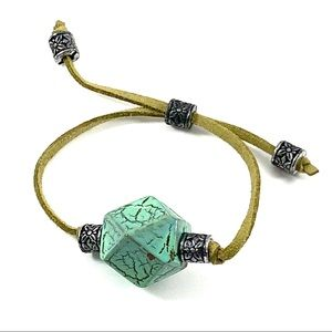 Jewelry - Green suede cord adjustable frendship bracelet (L)